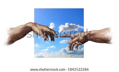 Reaching hands from Michelangelo's Creation of Adam repro and square blue sky portion abstract illustration isolated on white background.