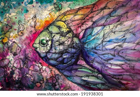 Shoal of fish on the coral reef.Picture created with watercolors.