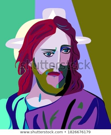 Colorful abstract background, cubism art style, jesus concerned for humanity