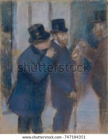 Portraits at the Stock Exchange, by Edgar Degas, 1879, French impressionist pastel drawing. Preliminary study for a painting of the Jewish financier and collector Ernest May , under the portico of the