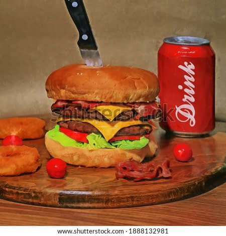 Classical still life food oil painting. burger and cola. painting for interior decoration. artist collection of fast food painting