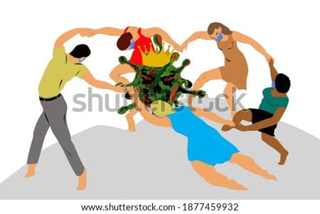 Dance around the coronavirus. Covid-19 is among us. Actual art fantasy based on the painting by Henri Matisse. People in face masks rallied around the tragedy. IVector illustration for postcards.