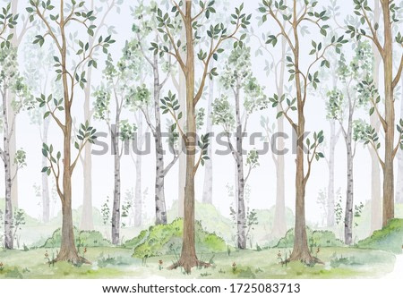Watercolor illustration-Fairy forest. Children's interior Wallpaper.