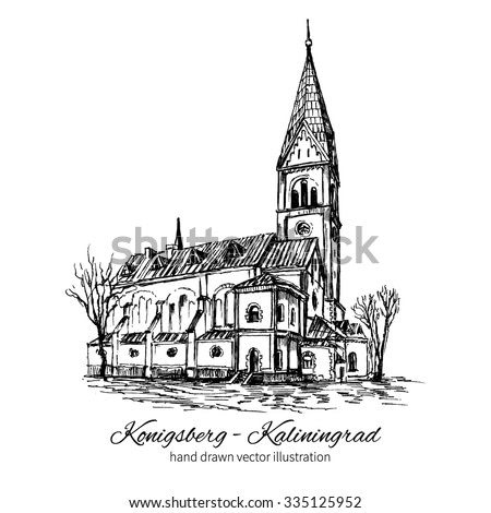 The Church of Queen Luisa, Luizenvahl, Landmark of the city of Kaliningrad, Russia, Is main symbol of the Konigsberg, Vector hand drawn ink urban sketch isolated on white, Historical building line art
