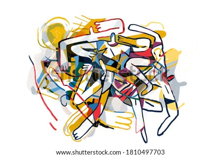 Abstract people together. Cubism Art influence. Painting, Modern Abstract Graffiti illustration. Paint with Primary Color. Contemporary art for Print and Poster