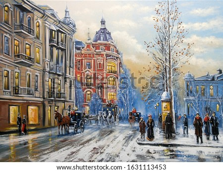 Oil paintings landscape, old city, street in winter. Fine art