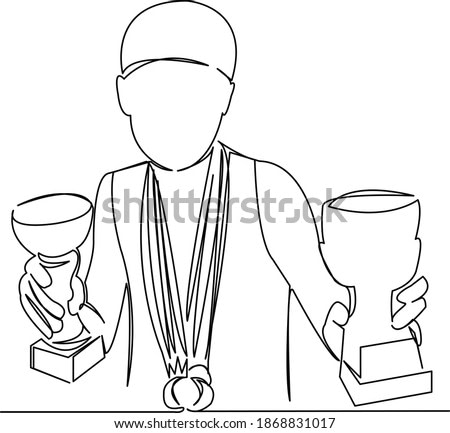One continuous single drawing line art flat doodle sport, award, medal, victory, gold, winner, athlete, champion. Isolated image hand draw contour on a white background