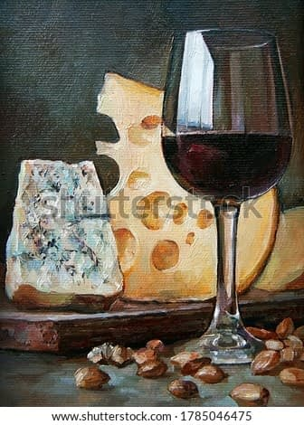 Still life with bottles of wine and two types of cheese . Created in the Provence style. Oil painting on canvas.