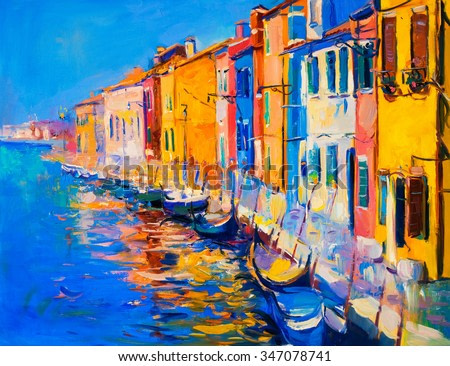 Original oil painting of beautiful Venice, Italy on canvas. Modern Impressionism
