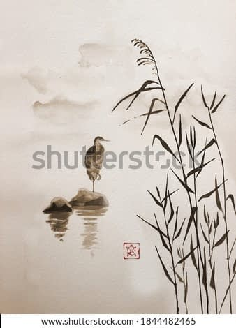 The gray heron stands in the lake. Traditional Japanese ink painting sumi-e on vintage paper. Illustration.