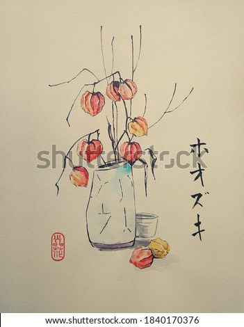 Vase with bouquet fruit decorative physalis. Traditional Japanese ink painting sumi-e on vintage paper. Illustration. Contains hieroglyph - Physalis. Meaning of a seal - fire flower.