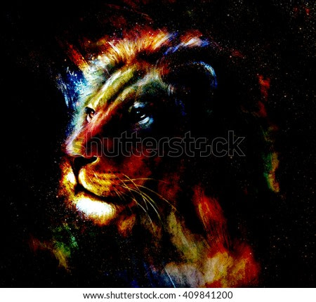 Lion painting on abstract color background. Profile portrait