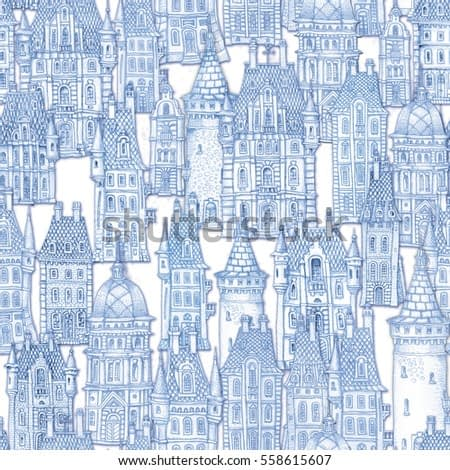 Seamless pattern of fantasy landscape. Fairy tale castle, old medieval town. Hand drawn sketch of house, tower silhouette. T-shirt print. Blue and white painting. Batik, wallpaper, wrapping paper.
