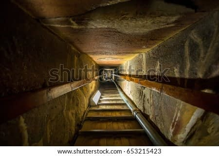 Stairway of the tomb in the center of a pyramid at Giza, Cairo in Egypt