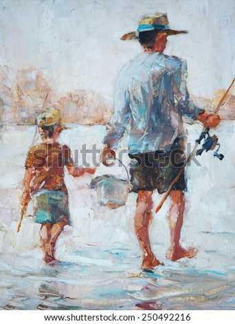 father and son fishing, drawing oil