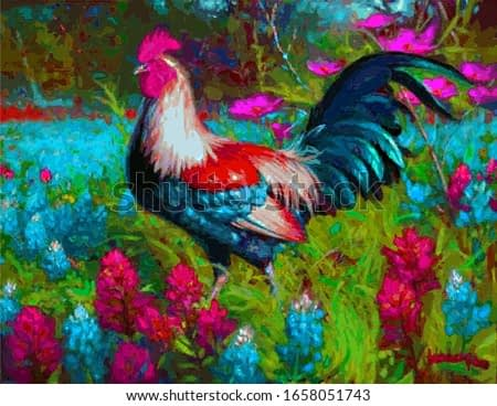 Colorful cock or rooster painting in floral background for website,book covers,advertising,card,greeting card,decoration,romantic sign and various uses