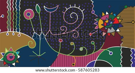 Moon and two stars. Abstract style colorful graphics.