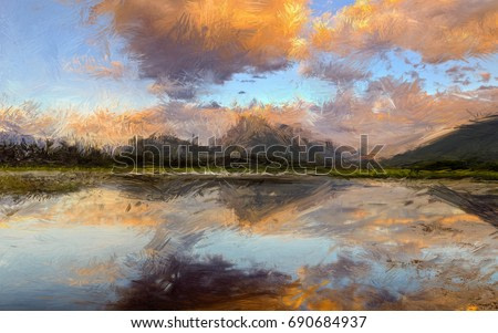 Impressionist style nature painting of mountain
