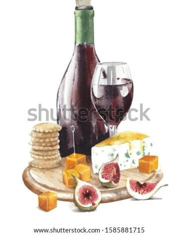 Cheese plate with red wine still life watercolor painting food illustration isolated on white background