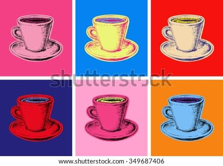 Set of Coffee Mug Vector Illustration Pop Art Style Andy Warhol