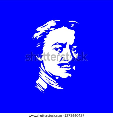 Portraits of famous Russian historical figure - Peter the great