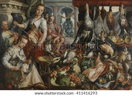 Kitchen, with Jesus in the House of Martha and Mary in the Background, by Joachim Bueckelaer, 1566. Flemish painting, oil on panel. The painting contrasts the abundance of food against the shoeless e