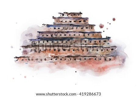 ancient pyramid of niches watercolor painting. Mexico