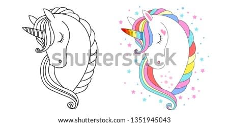 Cute unicorn face. Vector illustration for coloring book white unicorn with rainbow hair. Set of colored an outline versions