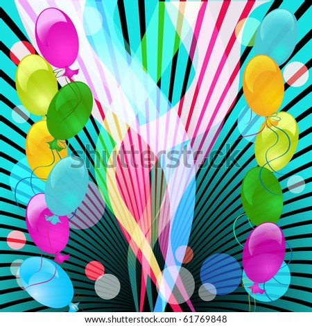 Celebratory abstract background with ray and balloons.