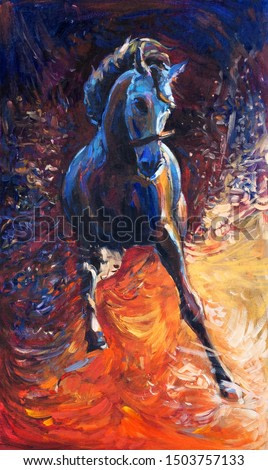 Original abstract oil painting of a beautiful blue horse running.Modern Impressionism.Painting is related to year 2014-year of the blue horse