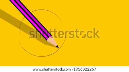 Illustration of a pencil and yellow paper. Painting a circle, art concept, drawing teaching. Course, learning to draw. Graphic design banner.