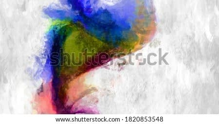 Rough brushstrokes on abstract background. Brush painting. Color strokes of paint. Unique wall art. Modern art on canvas. Colorful contemporary artwork.
