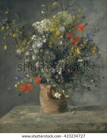Flowers in a Vase, by Auguste Renoir, 1866, French impressionist painting, oil on canvas. This an early still life was painted by Renoir when he was 25 years old
