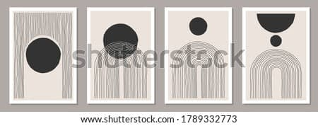 Trendy set of abstract creative minimal artistic hand sketched compositions ideal for wall decoration, as postcard or brochure design, vector illustration