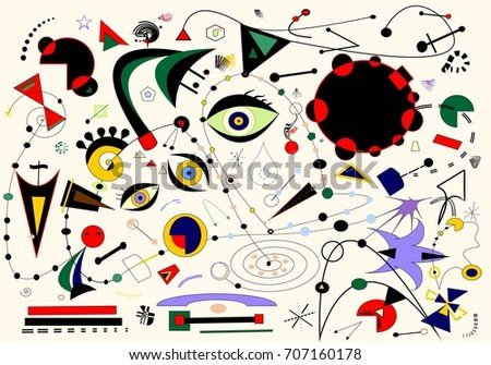 Abstract white background ,inspired by the  painter Miro