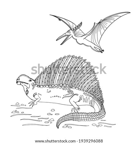 Outline Dinosaur Pterodactyl Illustration Suitable For Any Of Graphic Design