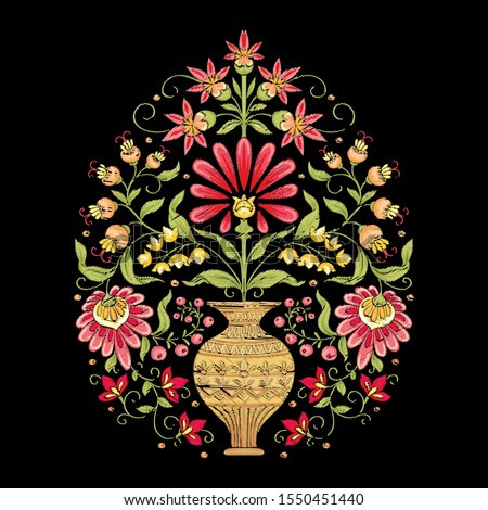 Tradition mughal motif, fantasy flowers in retro, vintage style. Element for design. Embroidery imitation. Vector illustration. Isolated on black background