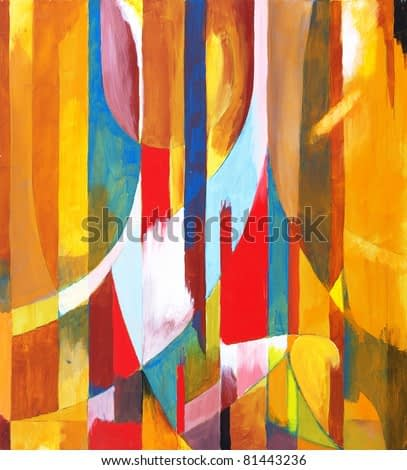 An abstract painting; arcs and columns of color, mostly warm, in an interesting composition
