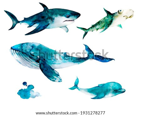 set of whales on a neutral background. watercolor illustration of oceanic animals