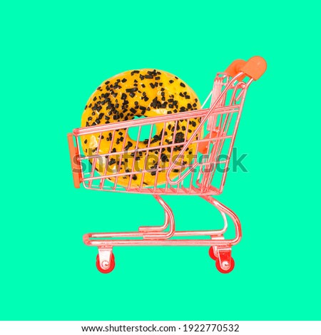 Basket on a bright background. Minimal creative style. Sales, discount and shopping concept. Empty shopping cart