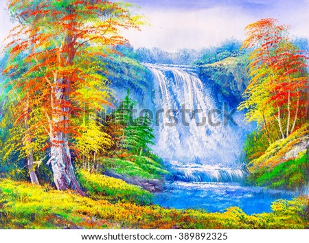 Oil Painting - Waterfall Landscape