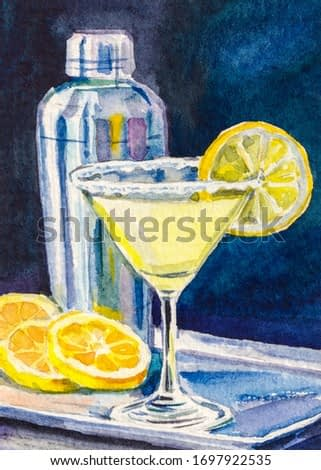 Alcohol cocktail in Martini Glass decorated with slice of lemon. On background metallic shaker. Fresh oranges on a tray. Watercolor painting.