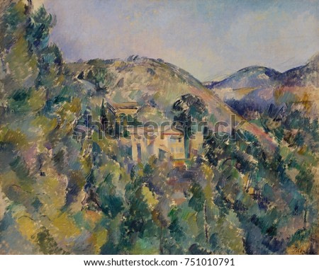 View of the Domaine Saint-Joseph, by Paul Cezanne, 1880s, French Post-Impressionist oil painting. In the center of the painting is the Jesuit estate of Saint-Joseph on the road between Aix-en-Provence