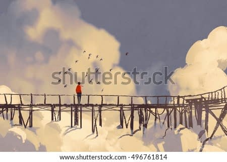 man standing on old bridge in clouds,illustration painting
