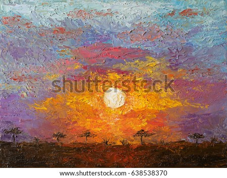 Oil art on canvas of sunset in African savannah landscape. Spectacular warm light of the sun. Modern impressionism artwork. Palette knife painting.