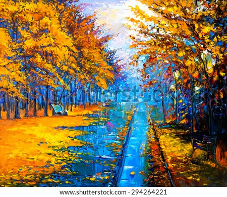 original oil painting on canvas-autumn landscape-modern impressionism by Nikolov