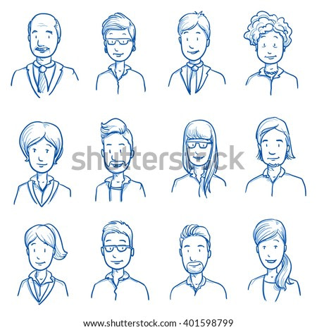 People collection BUSINESS. Set of various happy men and women in business clothes, mixed age expressing positive emotions. Hand drawn line art cartoon vector illustration.