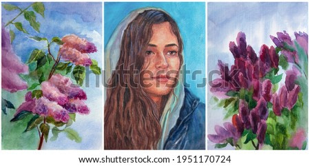 Portrait of a beautiful girl with long brown hair around a lilac. Hand drawn watercolor illustration. Triptych for a modern interior.