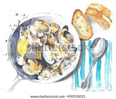 Food illustration seafood clams mussels stew watercolor painting isolated on white background