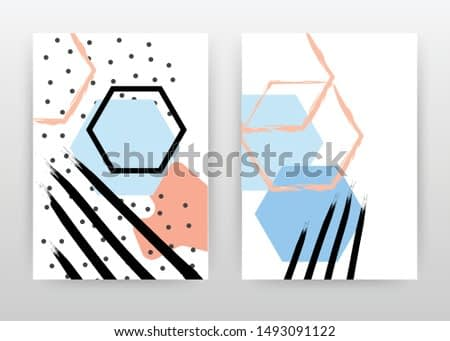 Colorful blue, red black hexagon shape design for annual report, brochure, flyer, poster. Abstract background vector illustration for flyer, leaflet, poster. Business abstract A4 brochure template.